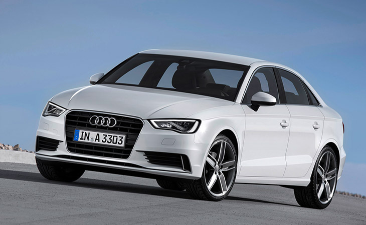 Audi A3 Sedan 2015 Front Angle Five Stars for Audi A3 and S3 Sedans in Government Crash Test